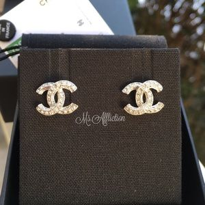 CHANEL Authentic Crystal CC Earrings